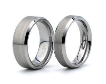 brushed tungsten wedding ring tungsten matching set mens womens rings sets 8mm 6mm - Tungsten Wedding Ring Sets