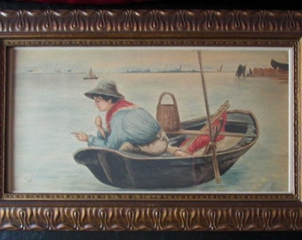 Fishing Boy in Boat Turn of the Century Watercolor Painting by C.J. Smith 1906 in Gesso Style Frame Edwardian Era