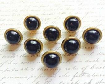 8 Black Pearl Push Pins - Antique Gold Push Pins - Gold Office Supplies - Map Push Pins - Black Push Pins - Decorative Push Pin - Office