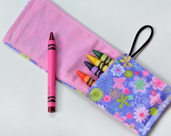 Crayon Holder Roll, Children Birthday Party Favor Cute Flowers, Crayon Wrap, Rollup, Pouch, Crayons Not Included