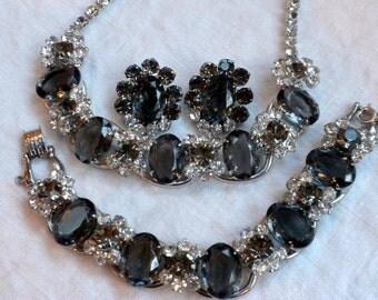 Juliana Necklace Bracelet Earrings Black Diamond Oval Rhinestone Parure