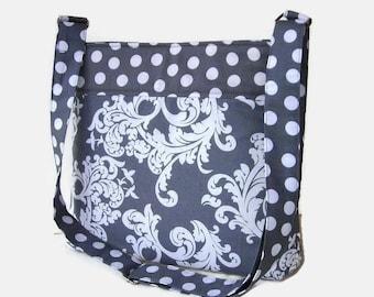 Gray Crossbody Bag - Fabric Crossbody Purse - Womens Messenger Bag - Medium Gray Shoulder Bag - Adjustable Strap -  Grey Handbag