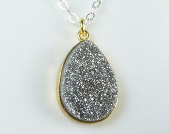 Silver Titanium Druzy Necklace, Sparkly Silver Titanium Druzy Pendant, Gold Bezel and Sterling Silver Chain, Mixed Metal Necklace
