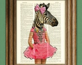 Zebra girl in a pretty pink dress Safari Girls Collection illustration beautifully upcycled dictionary page book art print