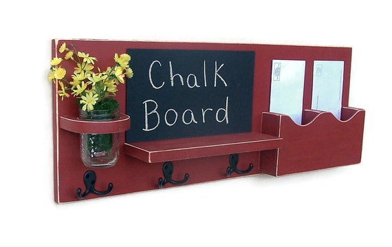 Chalkboard Mail Organizer Mason Jar - Mail and Key Holder - Chalk board - Key Hooks -  Coat Rack - Wood