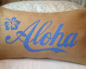 SALE - SHIPS IMMEDIATELY Aloha bright blue Hawaii burlap (hessian) pillow hessian cushion cover