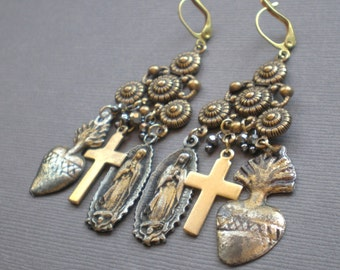 Milagro Gypsy Chandelier Earrings .. Sacred Heart.. GIFT .  Mother Daughter. Wedding Party. Sister to Sister. Birthday Gift - Anniversary