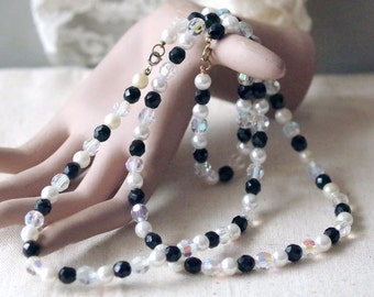 Vintage Crystal Necklace and Bracelet Set - Crystal AB Black Glass Faceted Gems and Faux Pearls