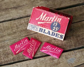Vintage Razor Blades Marlin Firearm in Original Box - 12 Single Edge Blades