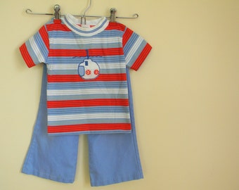 Vintage Nautical Shirt and Pants Set by Health-tex - Size 3T