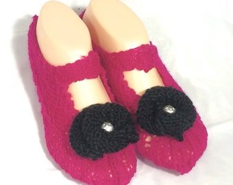 Cosy House Slipper Socks  (Pink with black flowers)