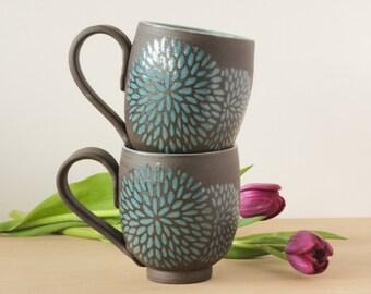 14 oz. Chrysanthemum Mug, Choose Color.  Ships in 2 weeks.