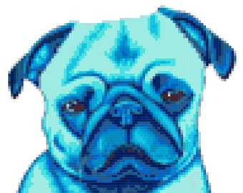 Blue Pug Cross Stitch Pattern ( Printable PDF ) - Immediate Download from Etsy