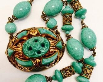 Art Nouveau Czech Peeking Glass Brass Vintage Antique Necklace Singed