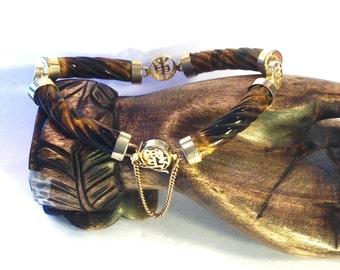 Chinese Carved Tigers Eye Vintage Bracelet