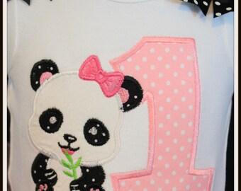 Baby's First 1st birthday PANDA theme bodysuit 6-12 months 12 months 18 months