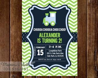 Train Invitation - Train Birthday Party - Blue and Green - Chevron Choo Choo Train - Boy Birthday - 2nd Birthday - PRINTABLE Invitation