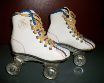 Vintage Roller Skates Child's Size 11 Roller Derby White High Top Metal Wheels