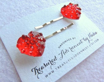 Red Heart Bobby pins, Valentine's day Hair pins, Rhinestone Heart, Heart Hair clips, Children's Hair Accessory, Gift for her, Party Favors