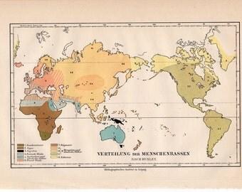 1894 human RACES map print original antique ancient culture lithograph - world map distribution of races