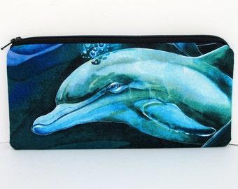 Zippered Pencil Pouch, Wild Ocean Dolphins, Long Zipper Bag