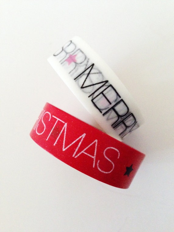 Text Merry Christmas Washi Tape Christmas Star Holiday washi Tape Gift Wrapping Christmas decorations