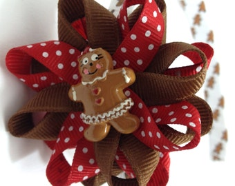 Gingerbread Girl, Christmas Hair Bow Headband