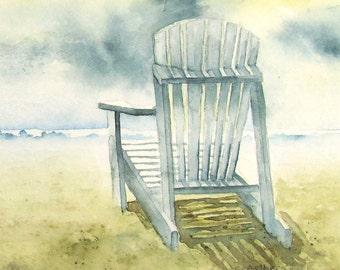 Adirondack Chair on the Beach Art 4 x 6 inches Original Watercolor