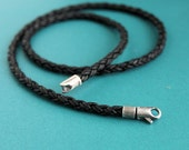Mens Leather Necklace, Black Braid, Sterling Silver Clasp