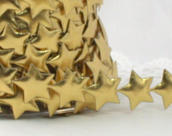 """Gold Star Trim, Gold Stars, 3/4"""" wide by the yard, Gold Star Ribbon, Gold Ribbon, Gold Metallic Stars, Star Banner, Christmas, Gift Wrapping"""