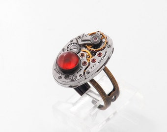 Steampunk Jewelry | Steam Punk Ring | Carnelian Gemstone | Vintage Watch Movement Ring | Fire Orange Carnelian | Soldered Adjustable Ring
