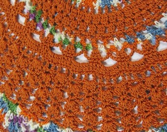 Orange Doily-11 inch Doily-Harvest Orange Egyptian Cotton Doily-Green,Orange,White and Blue Variegated Doily-Cindy's Loft