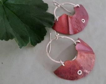 Large Copper blade earrings, hoops, riveted