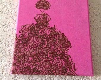 Flowery Dress, Henna Decorated Acrylic Painting - Original