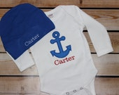 Personalized Baby Boy Gift Set Bodysuit and hat Anchor