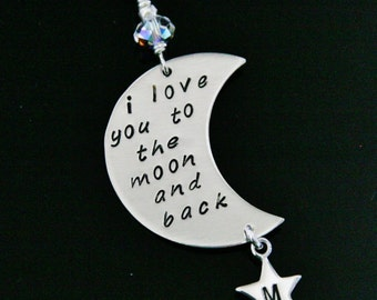 personalized moon and stars necklace