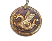 Celtic Dragon Pendant Bronze Tone Medieval Style Fantasy Jewelry Great Unisex Gift Protection Amulet Mystic Energy Free Velvet Gift Pouch
