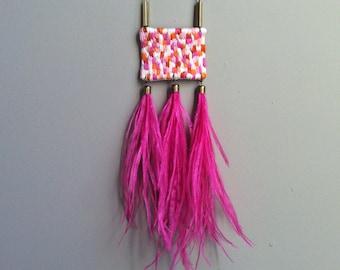 Hand Embroidered Ostrich Feather Tassels Peach Salmon Orange Blush Pink Fuchsia Geometric Pendant Statement Necklace Jujujust