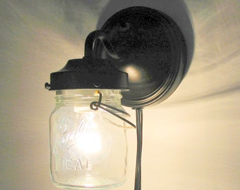 PLUG IN Mason Jar Wall Sconce Light