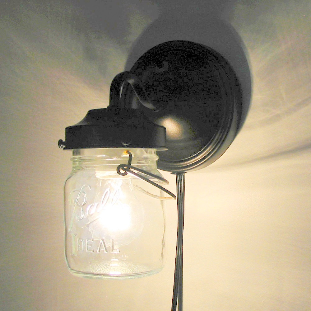 Unusual Plug In Wall Lights : PLUG IN Mason Jar Wall Sconce Light by LampGoods on Etsy