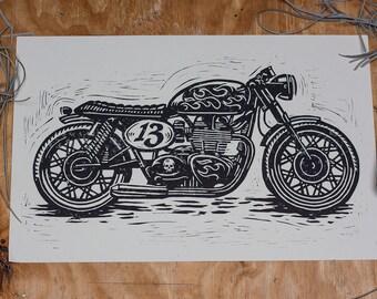Unlucky No. 13 Cafe Racer - Block Print