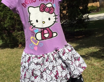 SALE Hello Kitty Upcycled T-shirt Dress, size 5/6, ready to ship, purple, black and white, polka dot, double layer ruffles