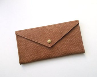 Envelope women leather wallet - Brown leather - Leather wallet