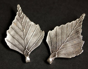 Set of Two Viking Brooches. Leaf Brooches. Norse Shoulder Brooches. Silver Leaf Apron Pins. Viking Brooch Set Historical Renaissance Jewelry