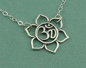 Sterling Silver Om Necklace - sterling silver om necklace - om jewelry - yoga necklace - handmade necklace - zen jewlery
