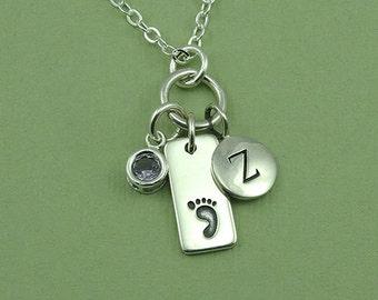 Newborn Necklace - Sterling Silver Baby Foot Jewelry, Newborn Gift For Mom, Newborn Jewelry, Birthstone Necklace