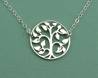 Floating Tree Necklace - sterling silver necklace - tree of life necklace - tree jewelry  - trendy necklace - tree pendant