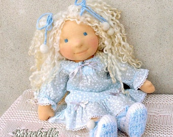 OOAK waldorf doll Mirabella 16 in, white and baby blue whinter clothes by LaFiabaRussa la fiaba russa