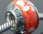 Artisan lampwork glass bead, hand stamped, Bend Oregon, .925 sterling silver, large 5.3mm hole, European Style, orange, flower, floral