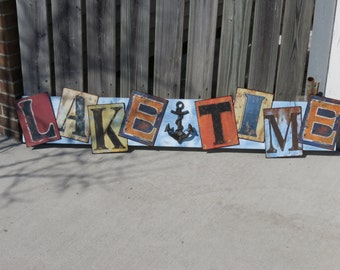 """RUSTIC Nautical Tin & Wood Sign Lake Time Funky Large 6ft x 10""""  Decor Inside Cast Iron Anchor Hanger"""